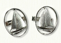 Sailboat Cuff Links-Shown in Sterling Silver