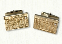 14kt Yellow Gold Custom Calendar Cuff Links