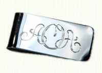 Sterling hand engraved money clip