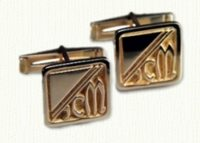Square cuff links in 14kt, CUFF LINKS