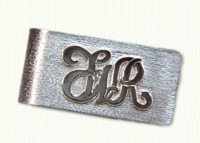 Raised initials money clip