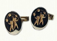 Custom 14KY photo etched cuff links - reverse etch
