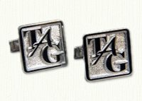 Square monogram cuff links in sterling silver CUFF LINKS