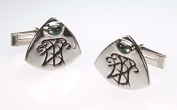 Monogram cuff links in sterling silver with oval tourmaline, CUFF LINKS