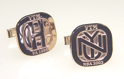 Monogram cuff links in 14KY